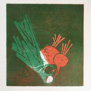 Gemüse, Holzdruck, 2014