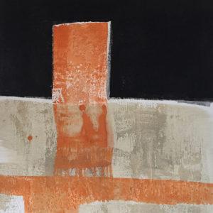 Orange Fläche im Schwarz, Mischtechnik auf Leinwand, 2016