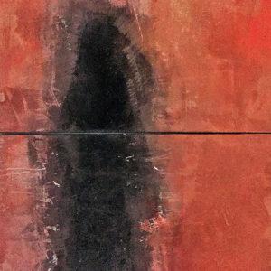 Figur nach hinten blickend, Gouache auf Leinwand, 2017