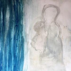 Mutter mit Kind, Gouache auf Leinwand, 2015