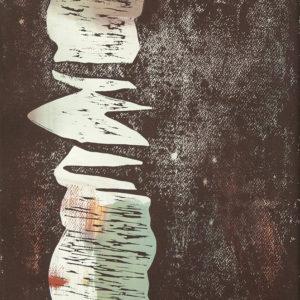 Senkrechte GRAU (2), Holzdruck, 47,5 x 35,5 cm, 2020