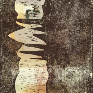 Senkrechte GRAU (1), Holzdruck, 47,5 x 35,5 cm, 2020