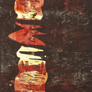 Senkrechte ROT (1), Holzdruck, 47,5 x 35,5 cm, 2020
